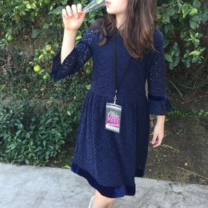 GAPKids Navy Lace Bell Sleeve Dress